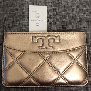 Tory Burch Rose Gold Savannah card case NWT